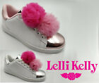 Lelli Kelly Pom Pom Trainers White Changeable Pon pons Rose Silver LK5826 Casual