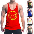 Mens Sport O-Neck Tank Tops Summer Smile Face Print Gyms Fitness Sleeveless Vest