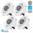 10W 4 inch Dimmable Eyeball LED Recessed Lighting Fixture, 3000K/4000K/5000K