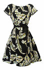 New VTG WW2 Retro 1930's 30s 1940's Art Nouveau Floral Tea Dress Black or Yellow