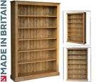 Large Wooden Bookcase, 6ft x 4ft Adjustable Display Shelving Unit, Bookshelves