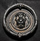 Vintage Antique Cast Iron Black Lion Door Knocker Colonial Ornate EMIG