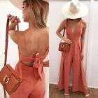 Women's Sexysuits Deep V-Neck Hollow Out Backless Bow Summer Casual Rompers