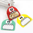 200Pcs Self Adhesive Bag Cartoon Monster Biscuit Cookie Candy Plastic Bags US