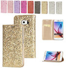 Bling Glitter Case PU Leather Stand Flip Cover for Samsung Galaxy S5 S7 Edge