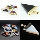 Amethyst Crystal Agate Onyx Triangle Pointed Reiki Chakra Silver Gold Pendant