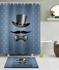 Mustache with Bow Tie Father's Day Shower Curtain Liner Polyester Fabric & Hooks