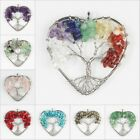Amethyst Crystal Lapis Lazuli Tree of Life  Heart Silver Pendant Fits Necklace