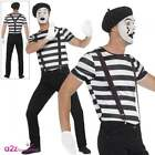 Mens Mime Artist Costume Adult Gentleman French Circus Fancy Dress Street Outfit
