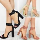 Womens Ladies Ankle Strap Platform Chunky Block High Heels Party Sandals Shoes