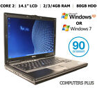 "Dell D620/d630, 14"" Laptop, Core 2, Rs-232 Serial Com Port, 2/3/4gb Xp Pro Win 7"