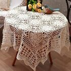 Floral Table Cover Beige Handmade Crocheted Tablecloth Square Table Cloths