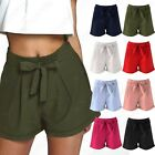 NEW LADIES TAILORED TIE BELT SHORTS WOMENS SHORT TROUSERS SMART SUMMER LOOK