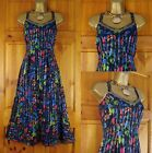 NEW LOVELY EX M&S BLACK WITH FLORAL PRINT STRAPPY FULLY LINED TEA DRESS UK 8-20