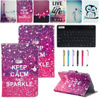 """7"""" 7 Inch Tablet PC Bluetooth Keyboard + Printed Pattern Leather Case Cover"""