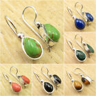 925 Silver Plated GREEN COPPER TURQUOISE & Other Gemstone ART Earrings Jewelry