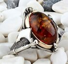 Turkish jewelry 925 Sterling Silver AXE amber stone Mens Man ring ALL SİZE us