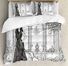 Sexy Fashion Woman in Victorian Palace with Dog Baroque Illustration Duvet Set