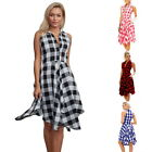 Fashion Womens' Sleeveless Plaid & Check Irregular Short Shirt Dress Slim Party