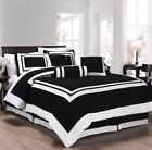 7-Piece Caprice Square Pattern Hotel Comforter Set Black/White (4 Sizes) image