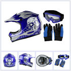 DOT Youth Kids Skull Helmet for Dirt Bike Motocross ATV Goggles Gloves S M L XL