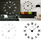 Modern Large Roman Numerals DIY Mirror Wall Clock Sticker Home Office Decor Chic