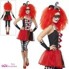 Ladies Twisted Harlequin Honey Costume Jester Halloween Fancy Dress Clown Outfit
