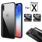 For Apple iPhone 8 X Shockproof Clear Hard PC+TPU Hybrid Slim Phone Case Cover