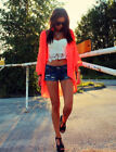 H&M Loves Music Festival Chiffon Kimono Beach Cover-Up Neon Coral Orange XS