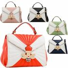 New Ladies Fashion Two Toned Buckled Hand Bag Jewel Bee Design
