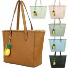 New Faux Leather Pineapple Charm Chain Trim Detail Ladies Tote Bag