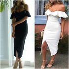 Summer Shoulder Sexy Frill Ruffle Leaf Package Hip Front Slit Dress Size S-XL