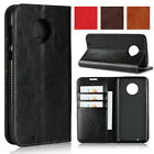 For Motorola Moto G6 / G6 Plus Genuine Real Leather Flip Case Wallet Stand Cover
