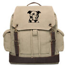 Pitbull Silhouette Vintage Canvas Rucksack Backpack with Leather Straps