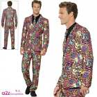 Mens 80's Neon Stand Out Suit Leopard Tiger Adult Fancy Dress Retro Stag Party