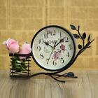 Vintage iron art silent desktop clock the flower for free personalized fashion h