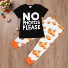 Toddler Infant Baby Girl Letter T shirt Tops+Pumpkin Pants Halloween Outfits Set