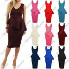 Womens Side Slant Double Frill Sleeveless Plain Bodycon Party Peplum Midi Dress
