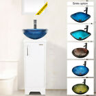 13'' Small Bathroom Vanity Set Cabinet Table Glass Sink Organizer Wood Top White