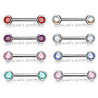 14g Double Gem Front Facing Gem Nipple Bar Surgical Steel Barbell Body Piercing