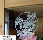 Etch Glass Effect Vinyl Stickers Bird Flower Butterfly Window Stained Glass