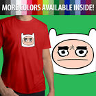 Adventure Time Finn Grumpy Face Head Cartoon Unisex Mens Tee Crew Neck T-Shirt