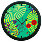 Floral Blue 3D Wall Clock 360 Degree Rotation Large 12 Round Wall Hanging Clock