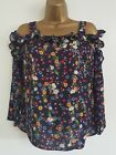 NEW Ex D*benh*ms 8-18 Cold Shoulder Ruffle Floral Print Navy Tunic Top Blouse