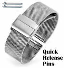 Silver Steel Adjustable Mesh Bracelet Watch Band Strap Double Lock Clasp #5025