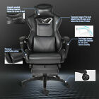 Ergonomic Racing Gaming Chair High Back Swivel Leather Footrest Office Desk Seat