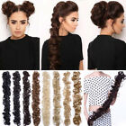 Long=Thick Hair Extensions Scrunchie Wrap Messy Bun Updo Curly Ponytail Chignon