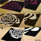 HIGH QUALITY - LARGE MEDIUM SMALL BLACK RED PURPLE 14MM THICK CARVED MODERN RUGS