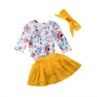 US Newborn Baby Girl Floral Romper Top+Tutu Shorts Dress Headband Outfit Clothes