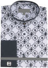 Men's Double Banded Collar Cross Embroidery French Cuff Shirt with Cufflinks